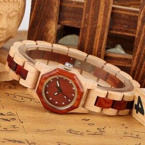 Image 4 - אלגנטי Rhinestones אוקטגון צורת שעון עץ שעון נשים שעון מלא עץ שיק צמיד שמלת שעון למעלה יוקרה Relogio Feminino