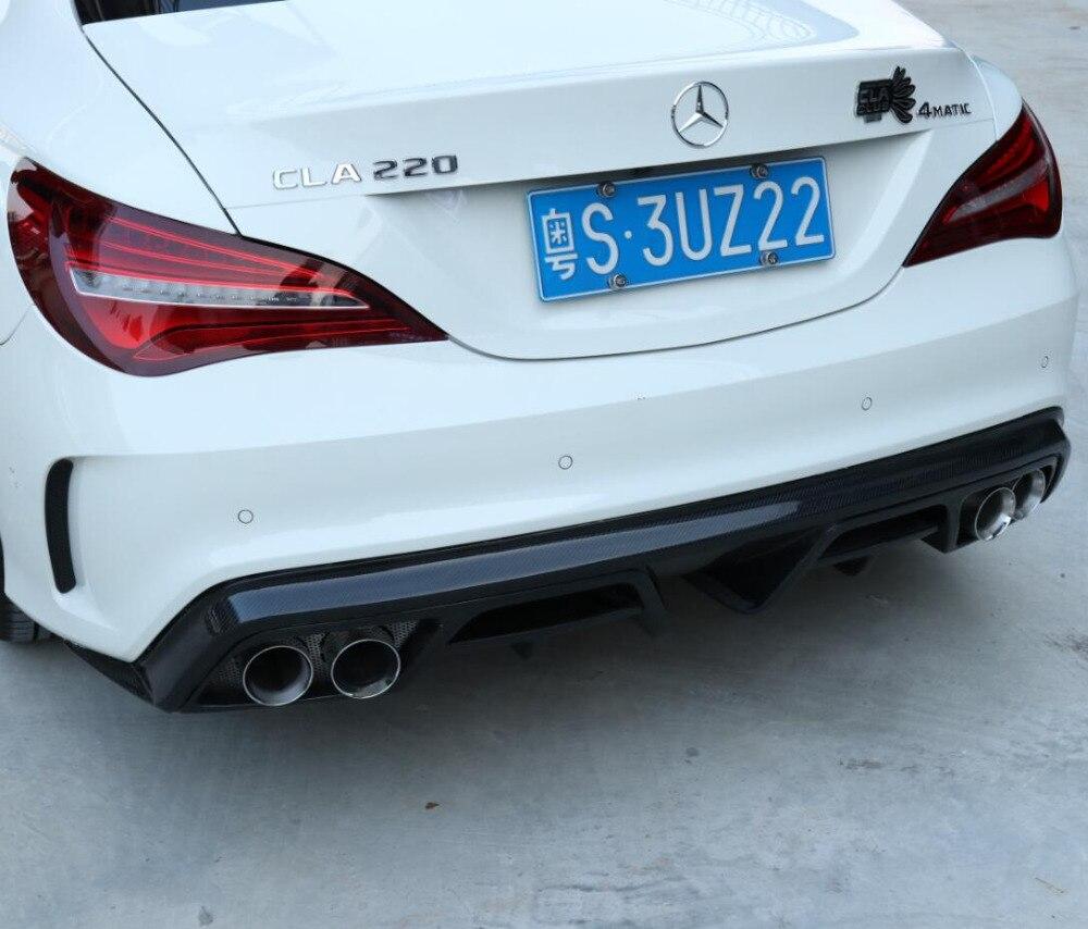 Карбоновый задний бампер для губ, автомобильный диффузор подходит для 13 18 Mercedes Benz CLA 45 W117 C117 CLA 200 250 260 2013 2018