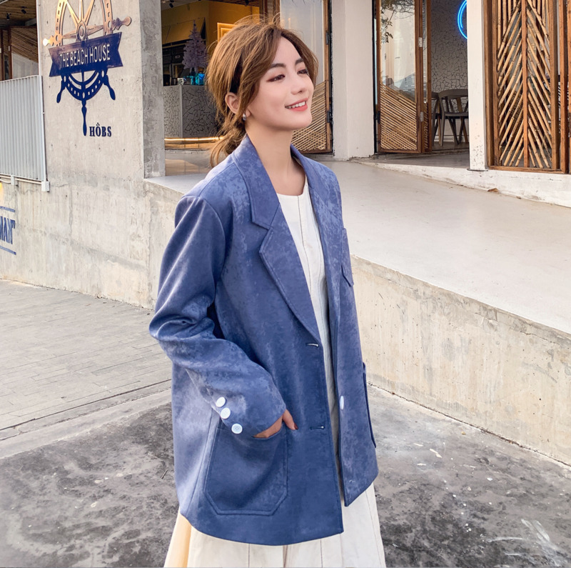 2020Spring And Autumn New Youth Popular Solid Color Snowflake Light Pearl Fabric Ladies Suit Fashion Casual Jacket Coat Red/Blue