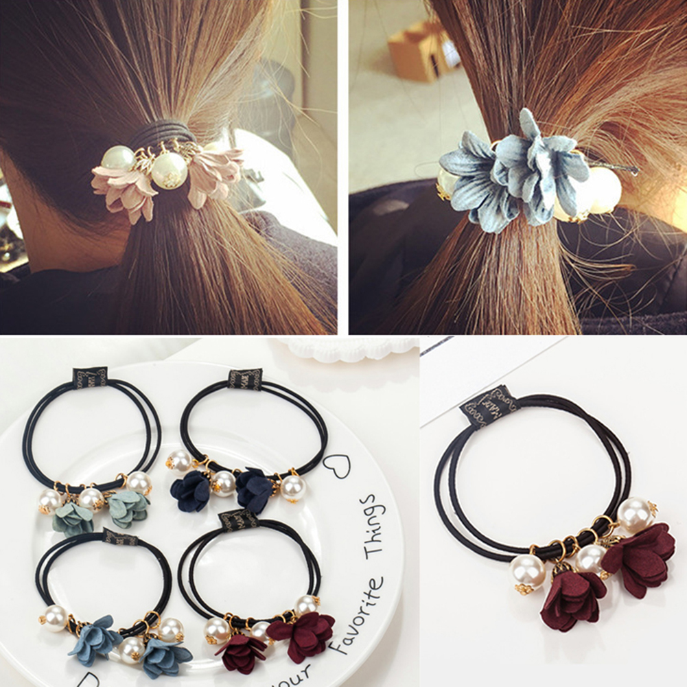Sale 1PC Flowers Pearl Elastic Hair Bands Hair Scrunchies Bun Ring Bow Rope Rhinestones Ball Headbands Hair Accessories