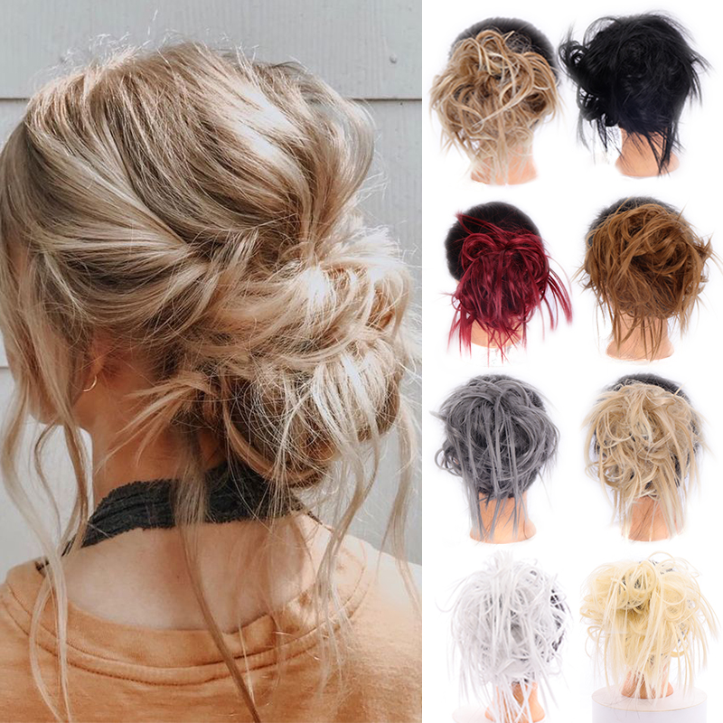 LUPU Scrunchie Messy Bun Chignon Straight Hair Pieces Synthetic High Temperture Fiber Hair Extensions For Women