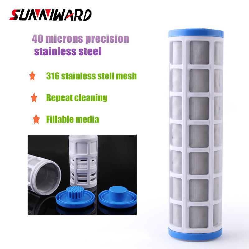Water Filter Accessories 10 Inch Ss304 Pre-filter Core 40 Microns Stainless Steel Wire Mesh Insert 10