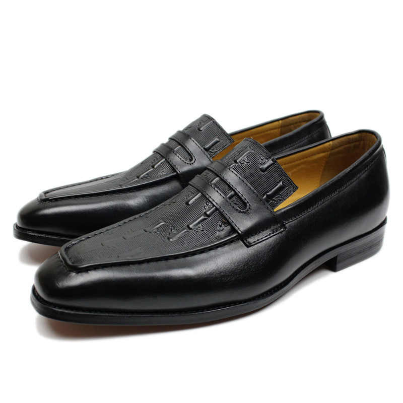 Cao cấp Chính Hãng Da Giày Penny Loafer Đen Nâu Tre In Nam Đầm Giày Tiệc Cưới Slip On nam trọng