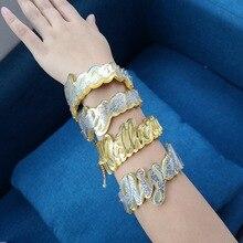 Name-Bracelets Bangle-Ring-Set Custom Name Personalized Women for Unique Cuban-Chain