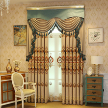цена Brown modern luxury embroidered curtains for living room high quality classic Voile Curtain for bedroom Shading Rate 41%-85% онлайн в 2017 году