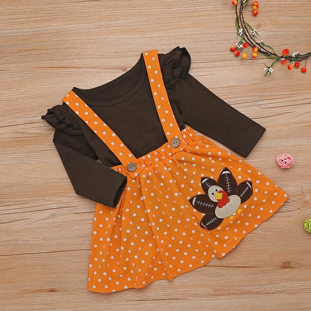 Toddler Kids Baby Girl Thanksgiving Turkey T shirt Suspender Skirt Outfits Set