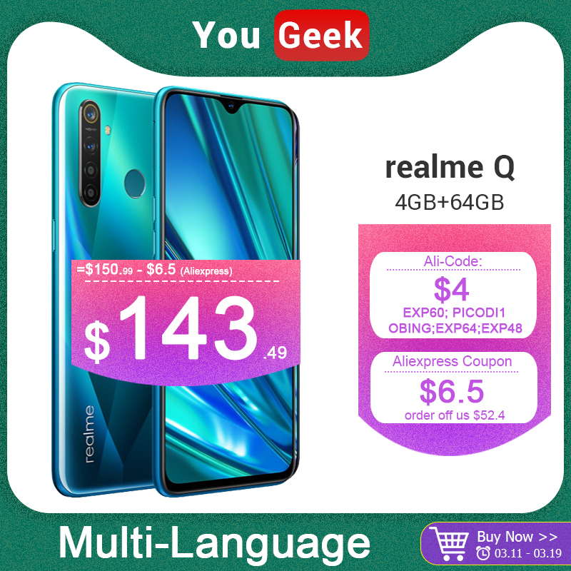 realme Q 4GB 64GB 6.3'' Moblie Phone Snapdragon 712 AIE 48MP Quad Camera Cellphone 20W VOOC Fast Charger|Cellphones| |  - title=