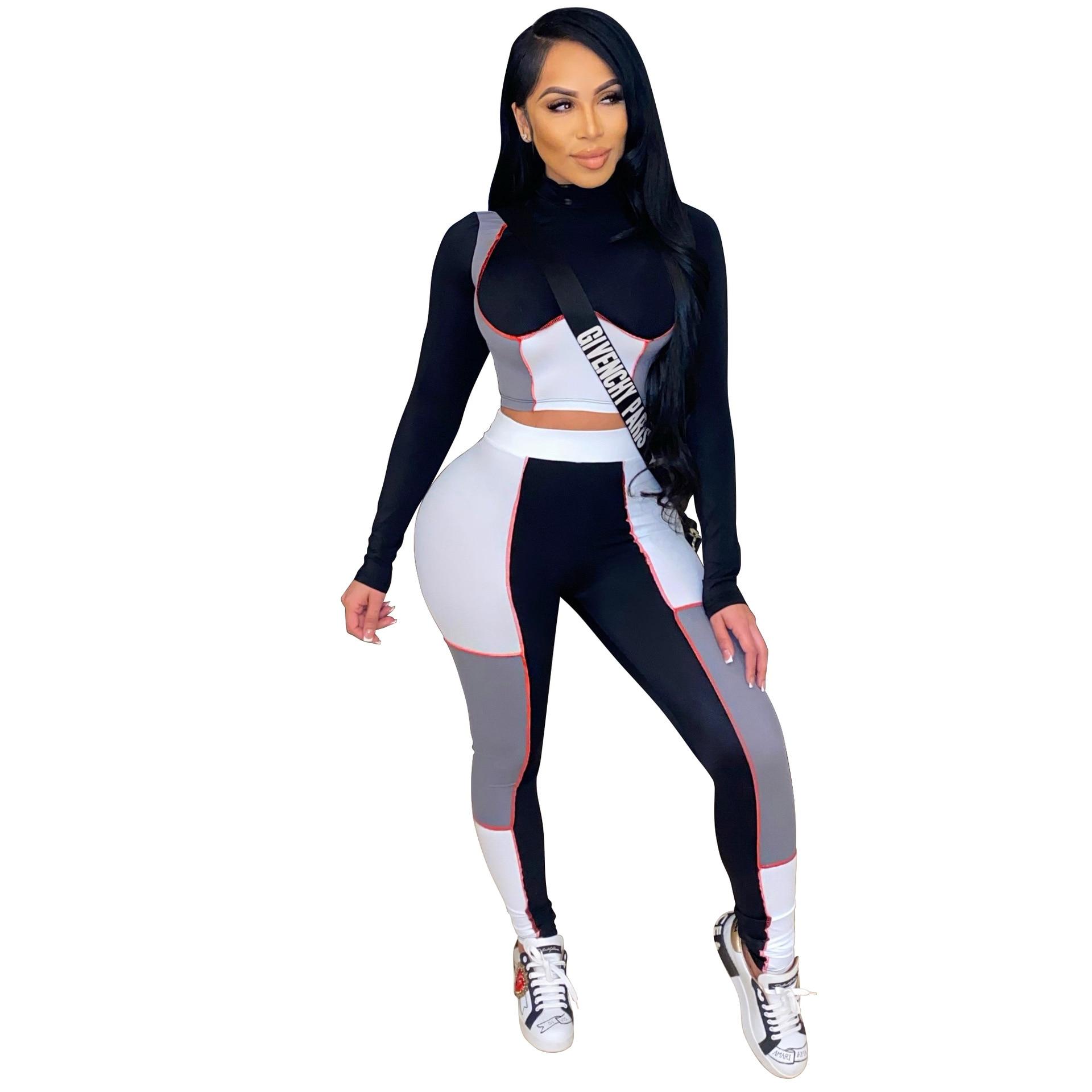 Casual Zwei Stück Set Frauen Farbe Patchwork Volle Hülse Shirt Crop Top + Lange Hose Trainingsanzug Sportsuit Kleidung Für Frauen outfit
