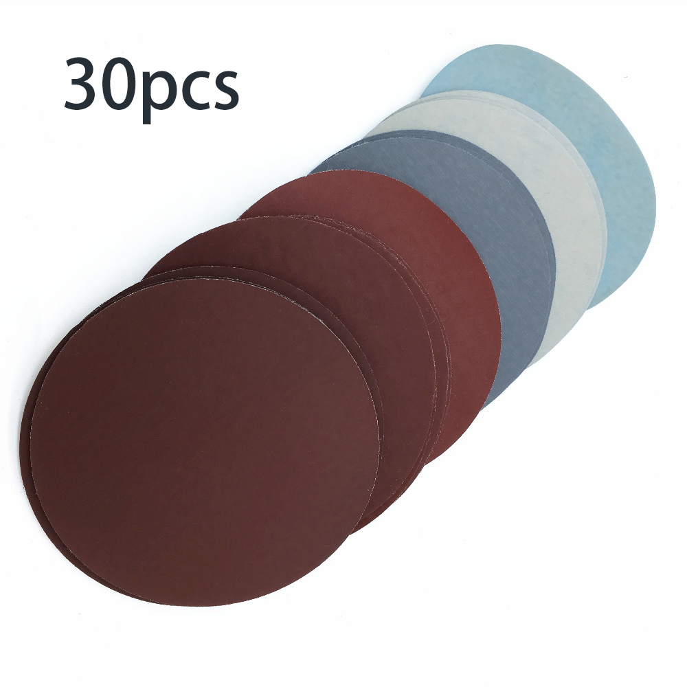 30PCS 50mm 2Inch 1000/1500/2000/3000/5000/7000 Grit Sanding Discs Hook And Loop Round Sandpaper Disk