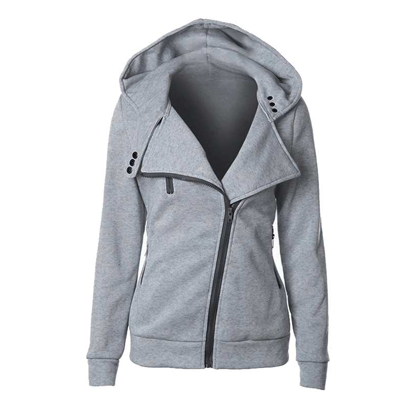 CALOFE 2019 Autumn Women Hoodies Sweatshirt Winter New Zip-Up Turn Down Collar Casual Long Sleeve Female Hooded Solid Jackets