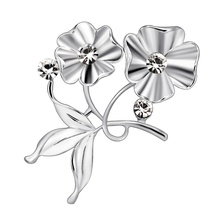 Plant Brooch for Women Jewelry Rhinestones Flower Brooches for Women Badge Silver Plated Brooch Pins Metal Christmas Gift rhinestones christmas hat brooch