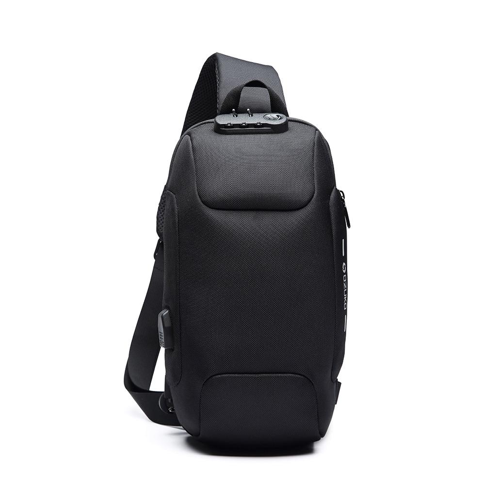 Men Outdoor Shoulder Bag Water-Resistant Oxford Cloth Chest Pack Fashion Burglarproof Chest Bag City Walking Backpack