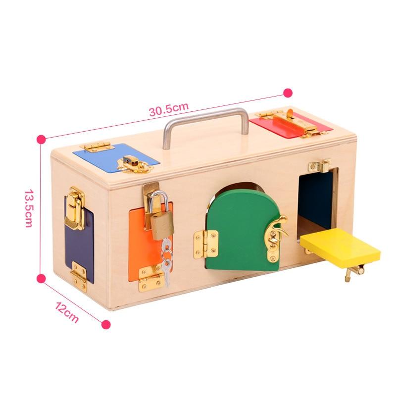 Купить с кэшбэком Wooden Montessori Toys Ducational Games Colorful Lock Box Juguetes Montessori Materials Preschool Learning Wooden Toys B1227T