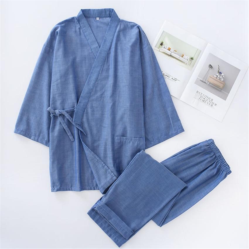 Kimono Sleepwear For Man Japanese Traditional Bathrobe Pajamas Sets Woman Yukata Nightgown Lover Leisure Wear Nightgown Homewear