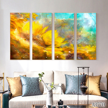 Modern Abstract Oil Painting Print on Canvas 4pcs Abstract Flower Sunflower Canvas Art Printing Wall Art Picture for Home Decor