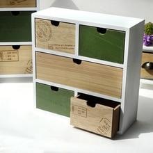 Vintage Almacenamiento en caja de madera cajón de madera cofre de cajones joyería Oficina decoración del hogar caja de almacenamiento de escritorio