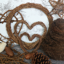 Novel Retro Christmas Wreath Hang Natural Garland Dried Rattan Xmas Home Wall Decor Shipping