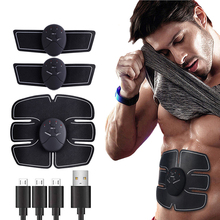 USB Rechargeable EMS Abdominal Muscle Stimulator Trainer Exerciser Machine Electric Body Shaping Massager Workout Home Fitness