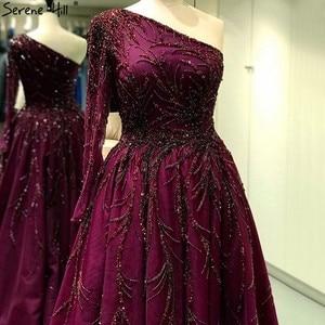 Image 3 - 고요한 힐 두바이 디자인 와인 레드 a 라인 이브닝 드레스 원 숄더 섹시 럭셔리 공식 파티 드레스 2020 CLA60988
