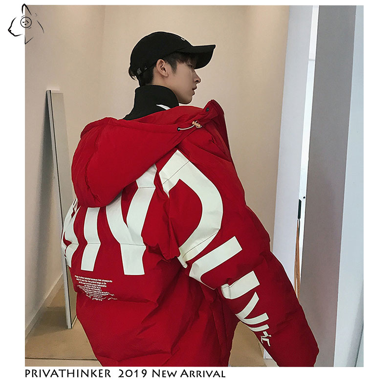 Image 4 - Privathinker 2019 Thick Warm Men Winter Jacket Clothes Casual Loose Harajuku Mens Parkas Coats Hooded Print Red Male Windbreaker-in Parkas from Men's Clothing