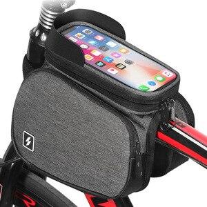 Велосипедная сумка TOTNEND, мобильный телефон с сенсорным экраном 5,7 дюйма, черная сумка-седло с передней рамой, двухсторонняя велосипедная сум...