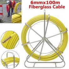 6mm 100m Fish Tape Fiberglass Wire Cable Running Rod Duct Rodder Fishtape Puller For Floor Conduit Telecom Wall