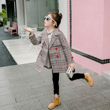 Kids Girls Trench Coat Spring Autumn Children Outerwear Jackets for Plaid with Long