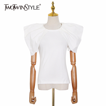 TWOTWINSTYLE Casual Women T Shirt O Neck Short Sleeve Patchwork Ruffles Loose Elegant T-shirts Female Fashion Clothes 2020 Tide - discount item  39% OFF Tops & Tees