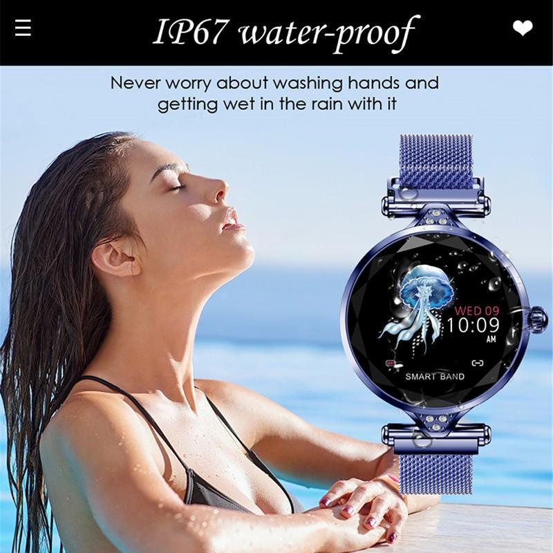 H8e12d74299dc48e28eddea9613f12f96n 2021 Fashion Smart Watch Women IP68 waterproof Multi-sports modes Pedometer Heart Rate smartwatch Fitness Bracelet for Lady Gift