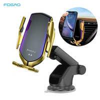 Soporte para teléfono de coche sujeción automática 10W Qi cargador inalámbrico para iPhone 11 Pro XS XR X 8 soporte de carga rápida para Samsung S10 S9