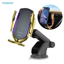 Titular do telefone do carro de aperto automático 10 w qi carregador sem fio para o iphone 11 pro xs xr x 8 rápido suporte carregamento para samsung s10 s9