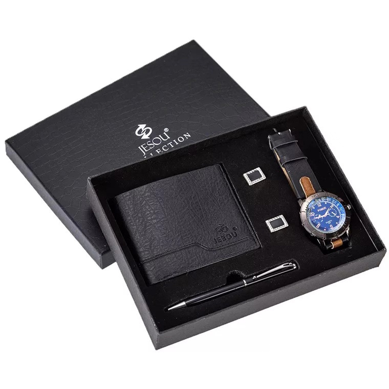 Мужские часы подарочный набор Ретро Повседневные Спортивные кварцевые наручные часы кошелек шариковая ручка с запонками набор для