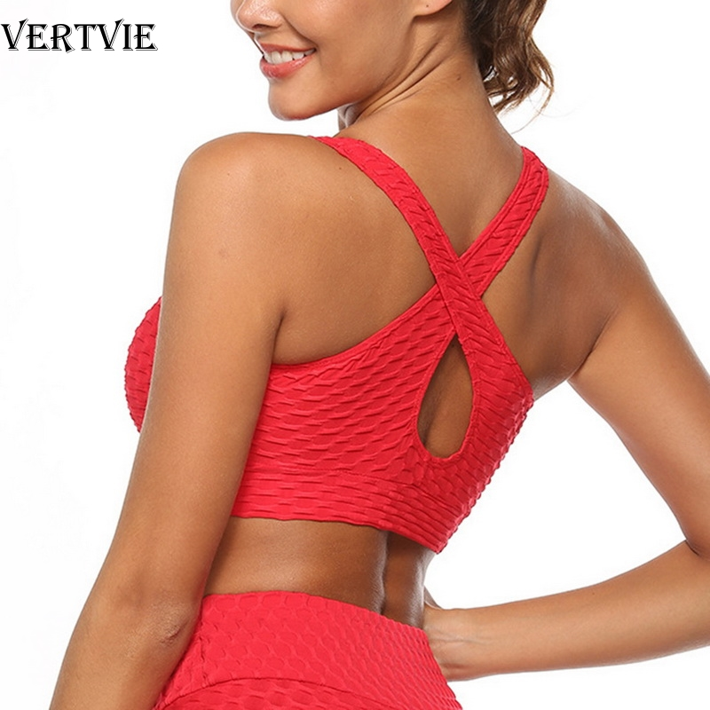VERTVIE Sexy Red Criss Cross Yoga Sports Bra Top For Fitness Gym Push Up Workout Bra Active Wear Women Jacquard Bubble Brassiere