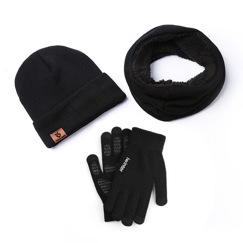 Warm 3 Pieces Per Set Men Women Winter Gloves Scarf Hats Thick Windproof Sets Male Beanies Gloves For Touchscreen Anti Slip Gift