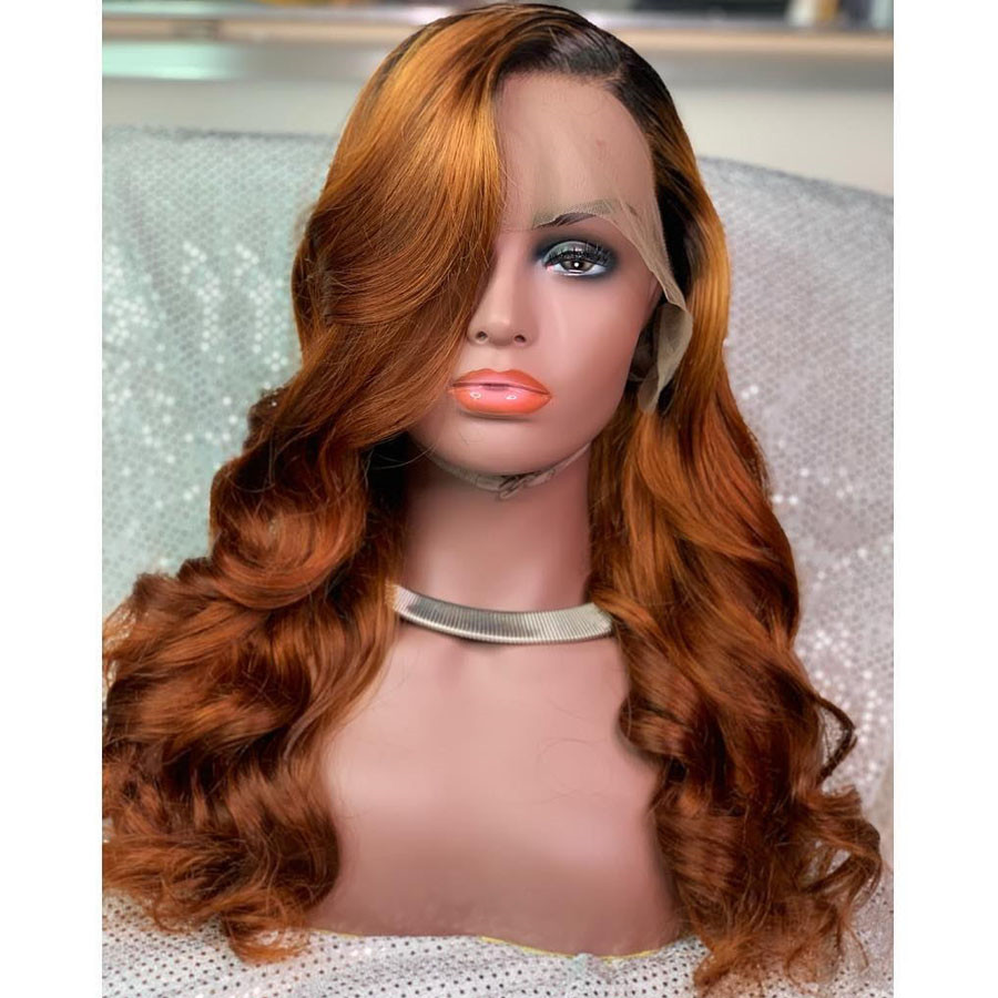Ombre Orange Human Hair Full Lace Wigs Brazilian Remy Glueless Wig Preplucked With Baby Hair For Women