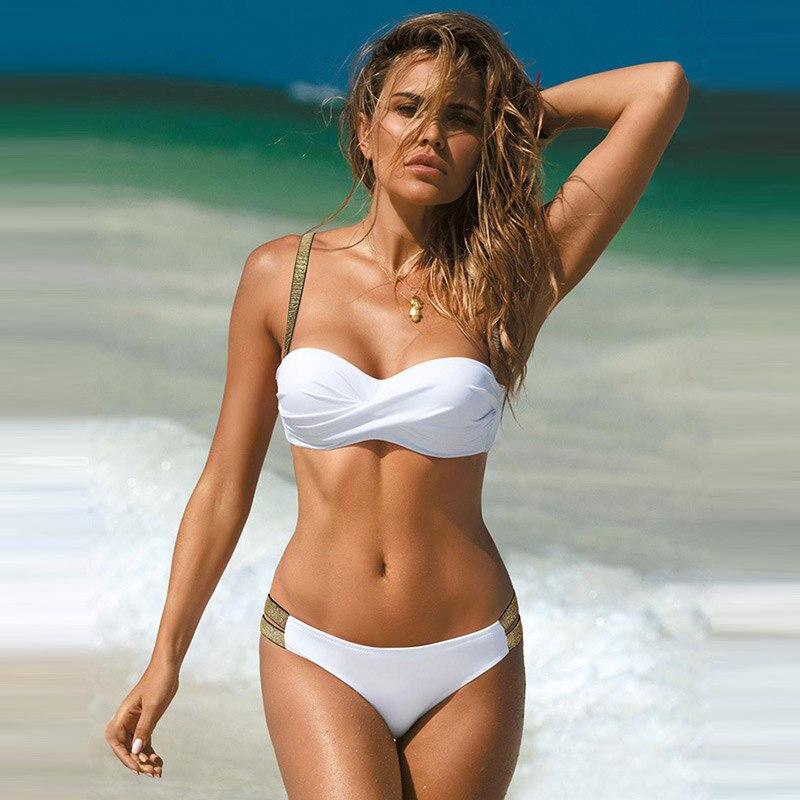 New Leaves Print Bikini Swimsuit Women Push Up Bikini Set Bandeau Swimwear Bathing Suit Brazilian Biquini Female - summer, adies-swimwear, bikini-set