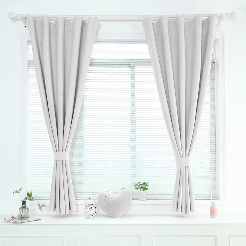 ENHAO Modern Short Curtains For Kitchen Window Curtain For Living Room Bedroom Solid Cloth Drapes Window Treatment Home Decor
