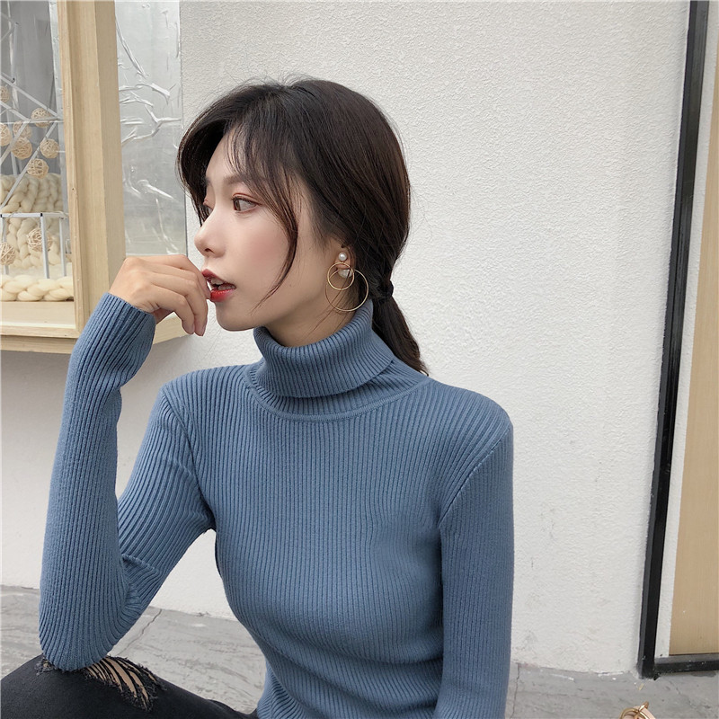 New-coming Autumn Winter Turtleneck Pullovers Sweaters Primer Shirt Long Sleeve Slim Korean Oversized Slim-fit Tight Sweater