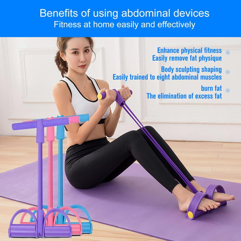 Multifunctional 4 Tubes Latex Foot Elastic Pull Rope Expander Muscle Fitness Workout Pedal Sports Equipment Resistance Bands