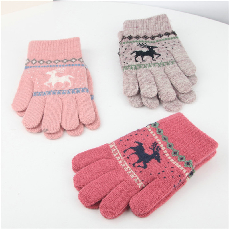Vintage Christmas Deer Knitted Gloves Women Thicken Touch Screen Gloves Winter Warm Snow Elk Full Finger Mittens Xmas Gift O24