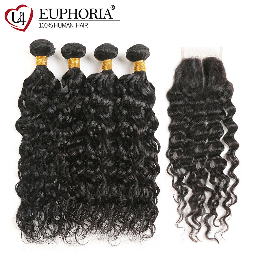 Brazilian Water Wave Human Hair 3 4 Bundles With Lace Closure Natural Color Non Remy Hair