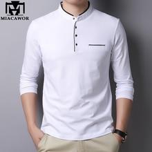 MIACAWOR חדש אביב גברים חולצת פולו 95% כותנה מוצק צבע מנדרינית צווארון ארוך שרוול פולו גברים Slim Fit פולו Homme t805