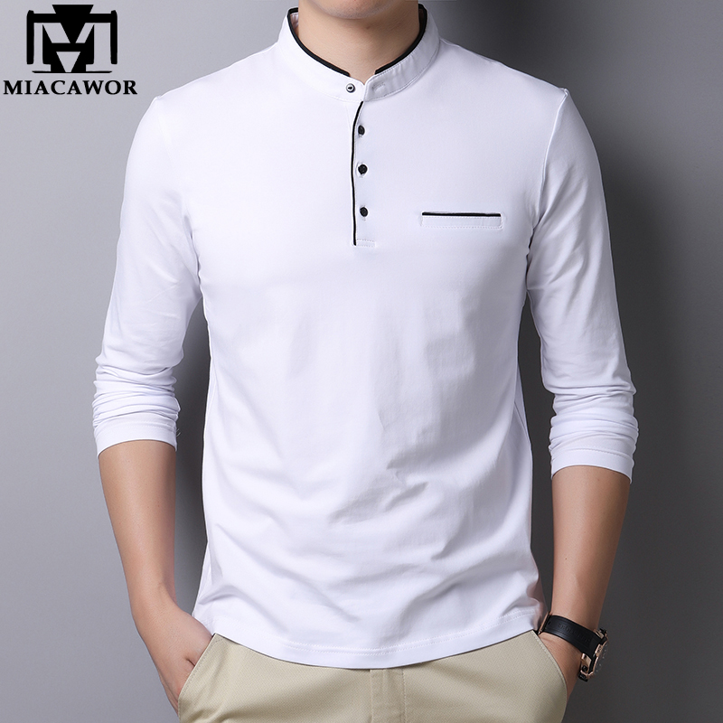 MIACAWOR New Spring Men Polo Shirt 95% Cotton Solid Color Mandarin Collar Long Sleeve Polo Men Slim Fit Polo Homme T805