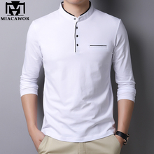 Miacawor camisa polo masculina, camisa polo 95% algodão cor sólida gola mandarim manga comprida polo slim fit t805