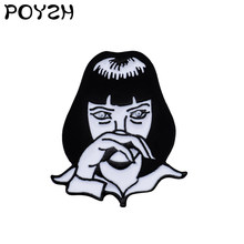 Punk Girl GODDAMN Enamel Lapel pin Mia Wallace Brooches for Men Women Movie Pulp Fiction Denim Shirt bag Jewelry Badge(China)