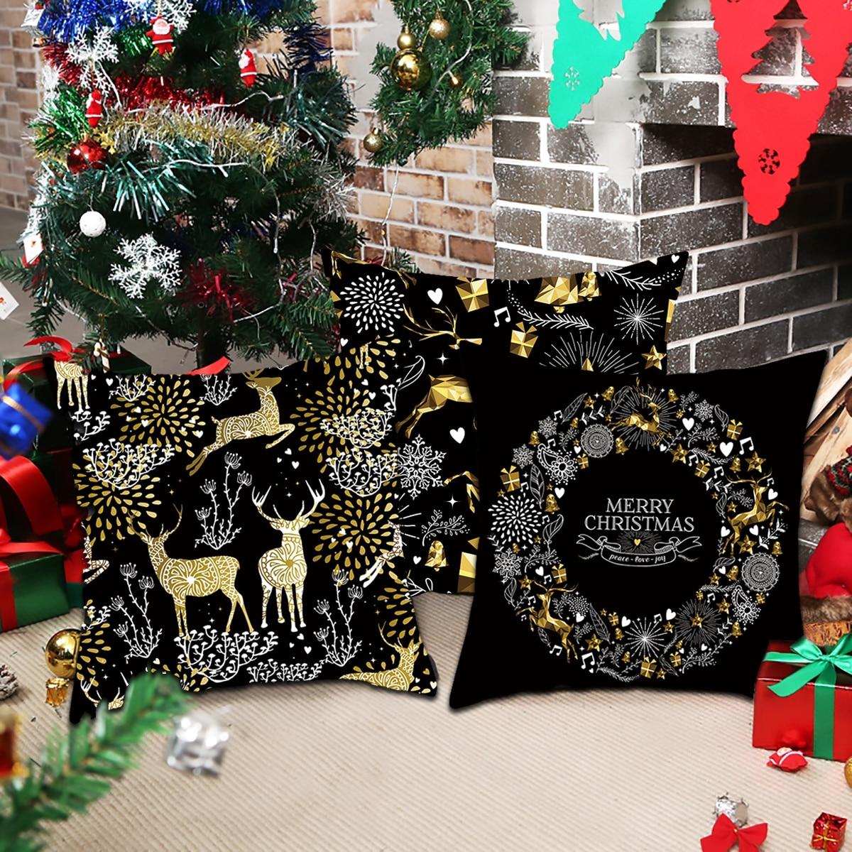 H8e13605eaf8b40bd933e96d17ea37a04f Christmas Pillow Coussin Cartoon Geometric Cushions Case Christmas Home Decorative Cushion For Sofa Xmas DIY Soft hug Pillowcase