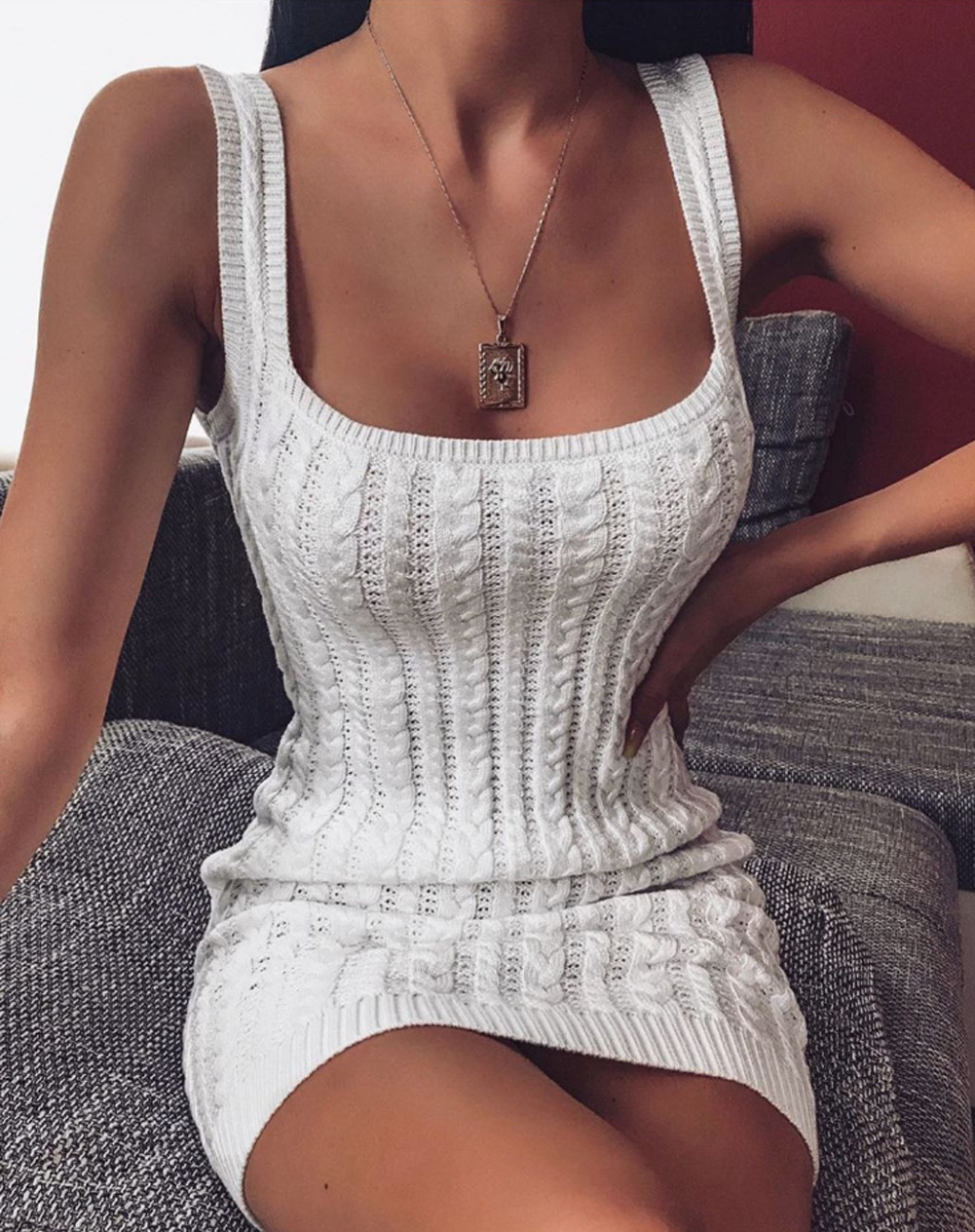 2019 Fashion Womens Knit Round Neck Bodycon Mini Dress Summer Party Beach Sleeveless Pure Color Knitted Sundress Crochet Dress