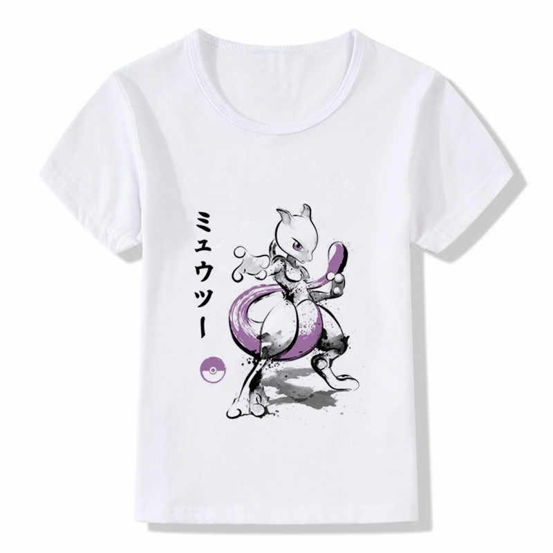 Delle Ragazze dei ragazzi Mewtwo Acquerello Ink Art Pokemon Villain Stampa T-Shirt Maglietta di Estate Dei Capretti Del Fumetto Dei Bambini Divertente Magliette e camicette Vestiti Del Bambino
