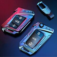 Zinc Alloy Cover For VW Magotan Passat B8 CC For Skoda Superb A7 Kodiaq Car Key Case 3 Buttons Key Shell