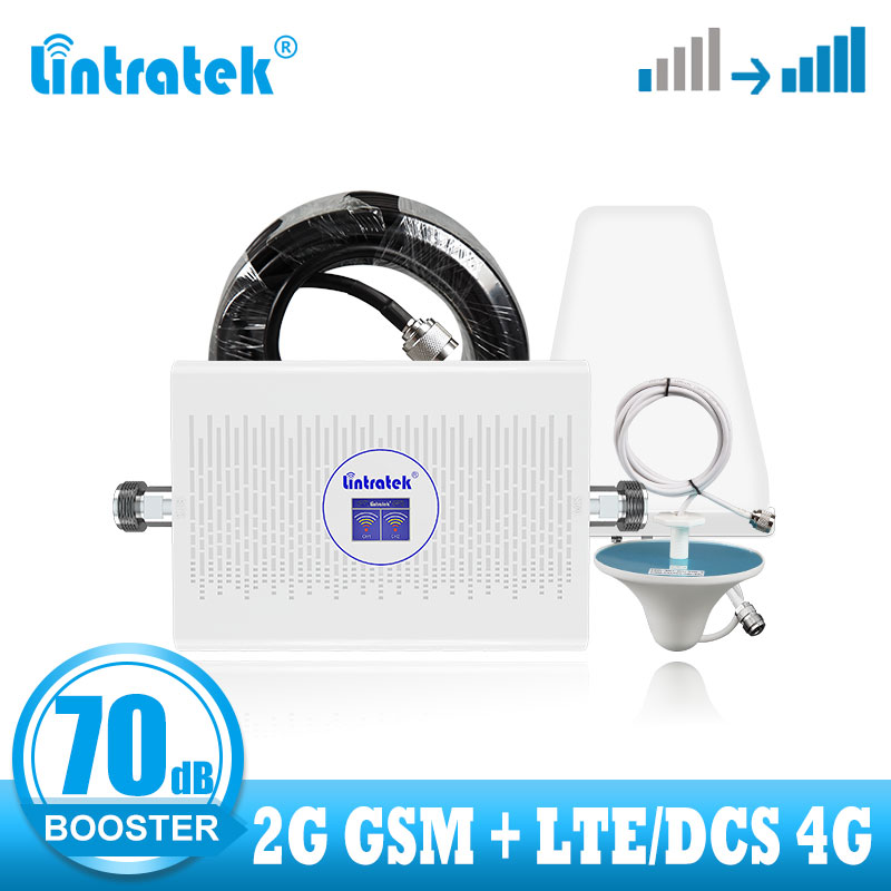 Lintratek GSM LTE 2G 4G Signal Booster GSM 900 1800 DCS Signal Booster Amplifier 4g Internet Network 70dB High Gain Repeater Kit